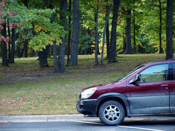 Buick Rendezvous at a rest stop, Michigan